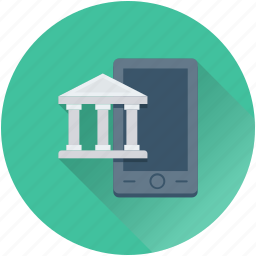 bank, banking, building, mobile, online banking icon