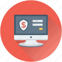 bank login, monitor, online banking, safe banking, secure banking icon