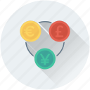 currency, euro, pound, trade, yen icon