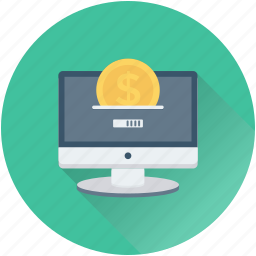 commerce, dollar, monitor, online business, online earning icon