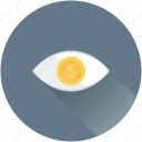 dollar, eye, promotion, visibility, watch icon