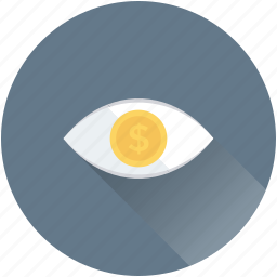 dollar, eye, promotion, visibility, watch icon