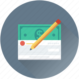 banknote, cheque, pencil, receipt, signing icon