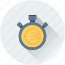 chronometer, euro, stopwatch, time counter, time is money icon