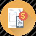 bill, commerce, dollar, mobile, qr code icon