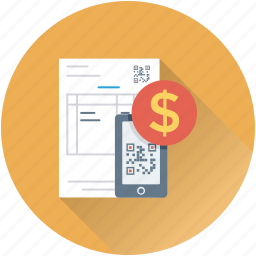 bill, commerce, dollar, mobile, qr code icon
