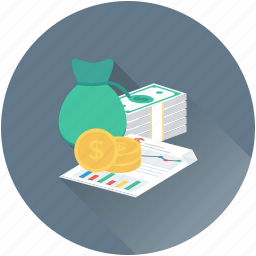 banknotes, currency, dollar, dollar coins, money sack icon