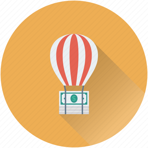 air balloon, banknote, business growth, investment, travel money icon