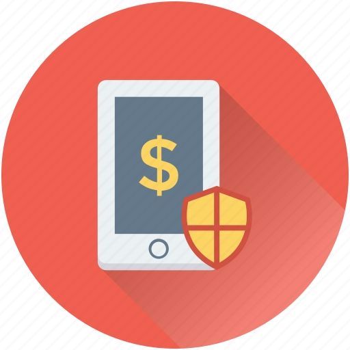m commerce, mobile banking, safe banking, shield, wireless banking icon