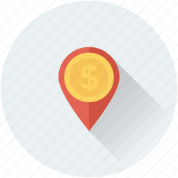 bank location, dollar, location pin, map locator, map pin icon