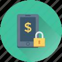 dollar, lock, mobile, mobile banking, safe banking icon
