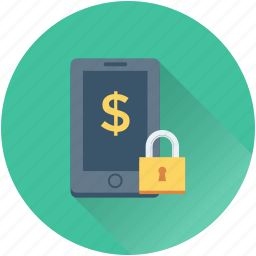 dollar, lock, mobile, mobile banking, safe banking icon