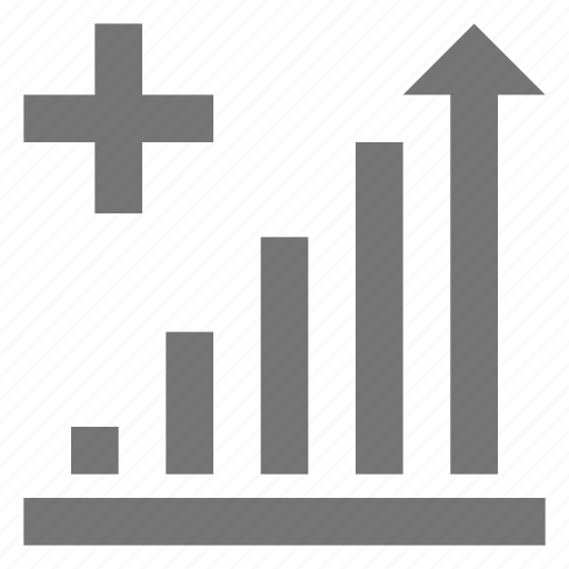 bar, business, chart, increase, line, material, plus icon