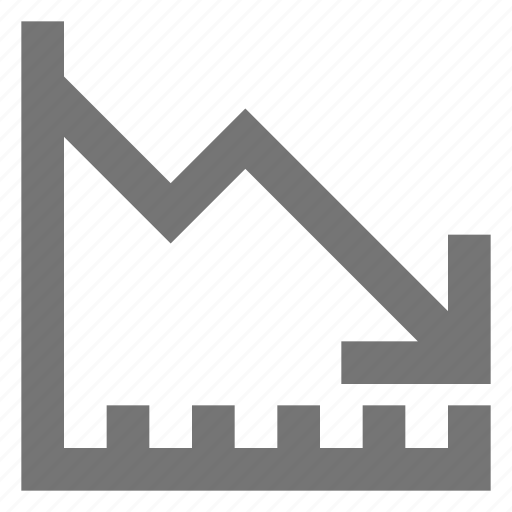 business, chart, decrease, line, material, negative, trending icon