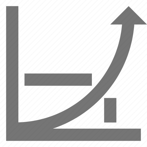 arrow, business, chart, growth, increase, line, material icon