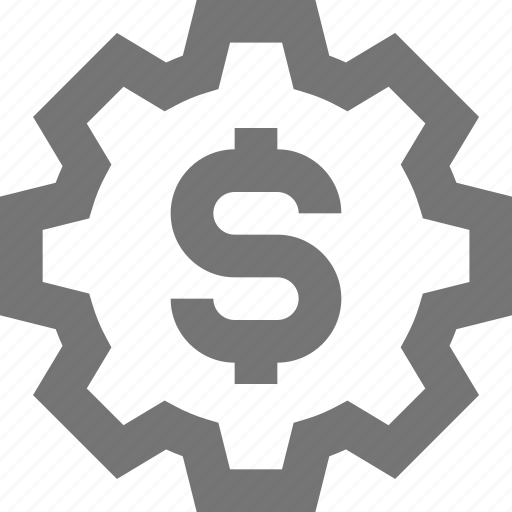 banking, finance, gear, material, money, setup, startup icon