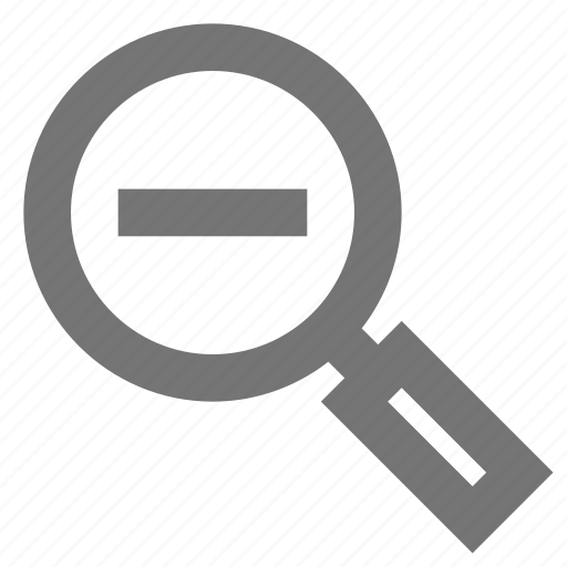 browse, magnifier, material, minus, outline, research, search icon