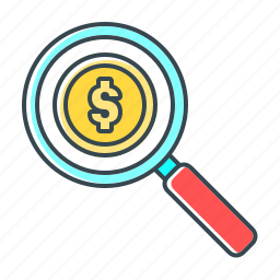 finance, glass, magnifier, search, search funds, search money icon