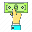 cash, cash payment, dollar, hand, money, payment icon