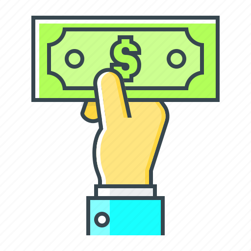 cash, cash payment, dollar, hand, money, payment icon