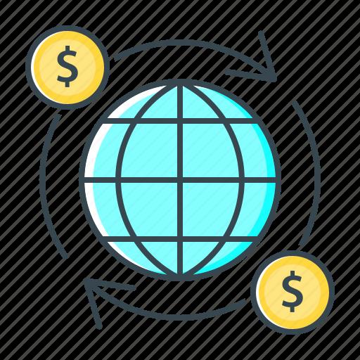 finance, globe, international, money turnover icon