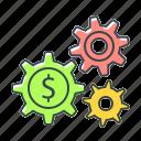 cogwheels, dollar, gears, making money, system icon