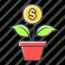 coin, finance, flower, growth, money, money growth icon