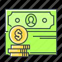 coin, money, profit, revenues, cash