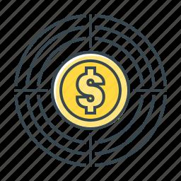finance, goal, purpose, target icon