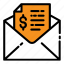 email, envelope, invoice, letter, mail, message, money icon