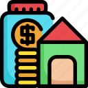 building, finance, financial, house, investment, money, saving icon