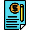 document, file, finance, financial, investment, money, payment icon