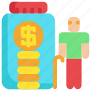 finance, financial, investment, man, money, old, saving icon