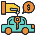 car, finance, key, leasing, loans, ownership icon