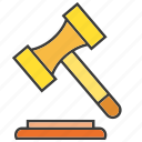 bid, gavel, hammer, judge, judgment, law, legal icon