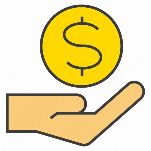 coin, finance, give, hand, hold, invest, money icon