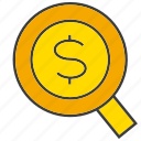 dollar, invest, magnifier glass, search, wealth