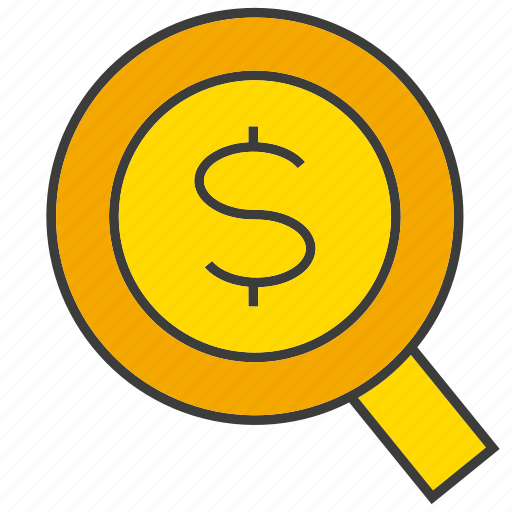 dollar, invest, magnifier glass, search, wealth icon