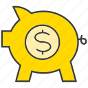 finance, invest, pig, piggy bank, rich, saving, wealth icon