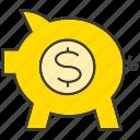 finance, invest, pig, piggy bank, rich, saving, wealth icon