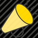 announce, megaphone, news, sound