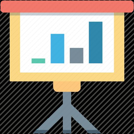 bar chart, bar graph, easel board, graph board, presentation icon