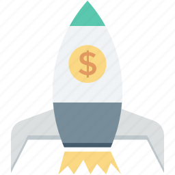 business launch, finance, rocket, space, startup icon