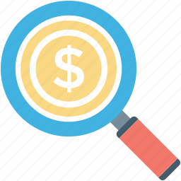 commerce, dollar, magnifier, money search, searching finance icon