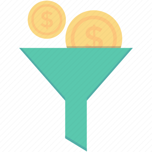 currency exchange, dollar, finance, funnel, money filter icon