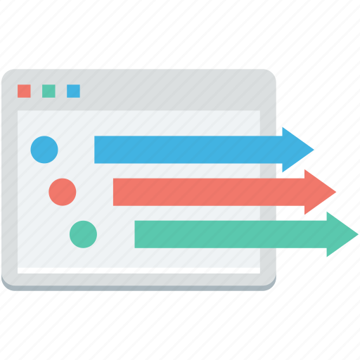 arrows, business graph, financial graph, line graph, seo graph icon