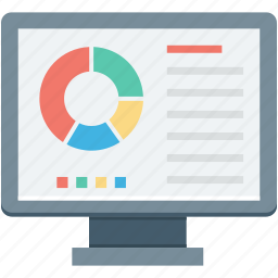 bar chart, online graph, online infographics, online report, pie graph icon