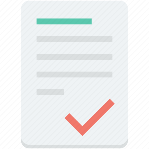 check article, checked, document, paper, tick icon