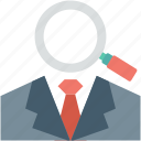 find person, magnifier, search investor, search male, search person icon