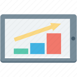 bar chart, bar graph, growth graph, mobile graph, online graph icon